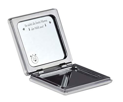 Kosmetikspiegel mit Gravur SO SIEHT DIE BESTE MAMA DER WELT AUS Handtaschenspiegel Klappbar Spiegel Kompaktspiegel Reisespiegel als Geschenk