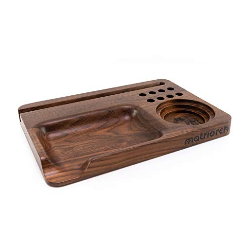 Blunt Father - Custom Black Walnut Wood Rolling Tray - 8 Cigar Slots - Grinder Base - Media Slot