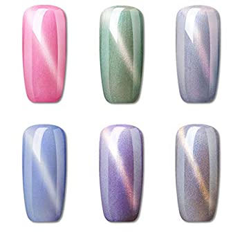 6PCS Magnetic Pearl Gel Nail Polish Manicure Salon Decor Cat Eye UV LED Soak Off Sea Shell Gel Nail Art Set with 1pc Magic Stick FairyGlo