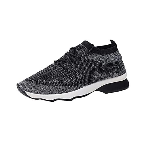 Zapatillas Mujer Running Sneakers Cordones Zapatos de Deportivas Transpirables Zapatillas De Deporte Ligeras(G25_Black,38)