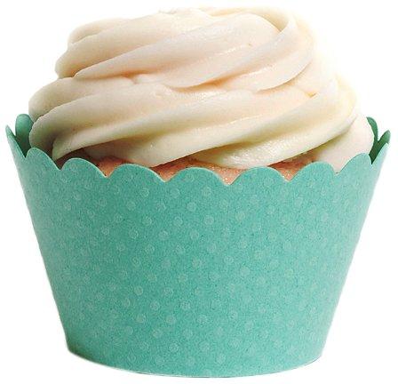 Dress My Cupcake Standard Diamond Aqua Blue Cupcake Wrappers, Set of 50
