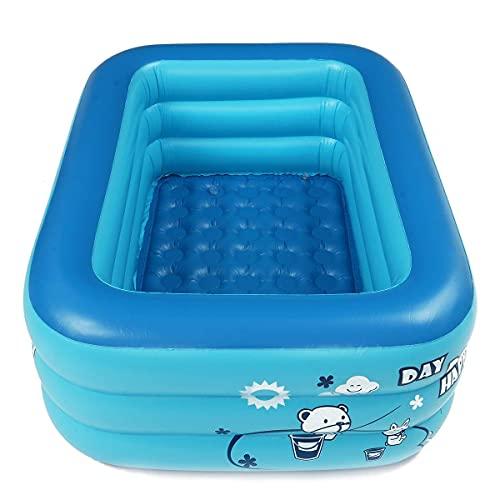 Yhjkvl Piscinas 180 cm espesar inflable piscina rectángulo bebé niños cuadrado bañera 3 capas piscina verano agua diversión jugar juguete verano regalo