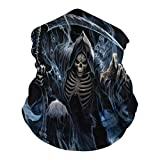 DTT&GTT Grim Reaper 3D Print Breathable Anti-UV Windproof Face Mask for Motorcycle Cycling Hiking Ski White