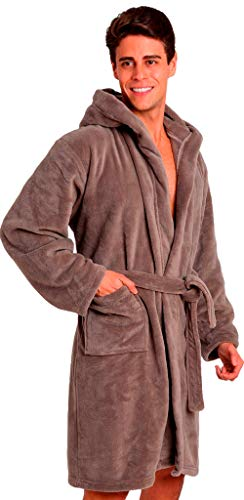 Pembrook Men's Robe with Hood – Gray - Size S/M - Soft Fleece – Hotel Spa Bathrobe