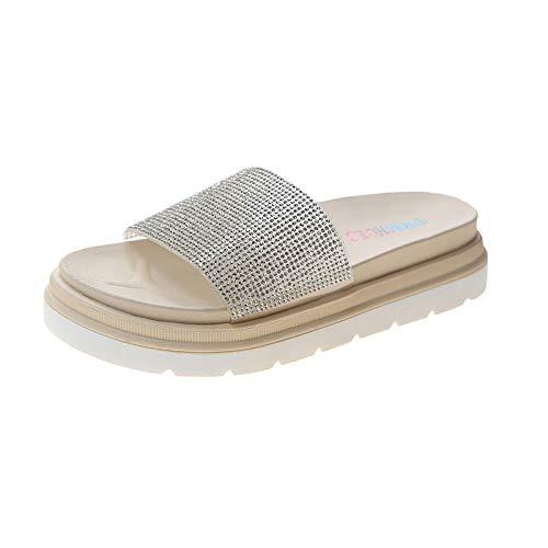 Cxypeng Sandalias de Punta Descubierta para Mujer,Taladro de Agua Playas de Arrastre Gruesas en una Palabra, Sandalias de Lentejuelas de Verano para mujer-39_White,Sandalias de Ducha Mujer