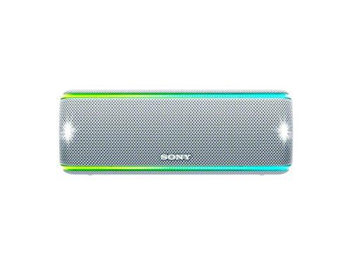 Sony SRS-XB31 Draagbare, draadloze Bluetooth luidspreker (gekleurde lichtbalk, extra bas, NFC, waterafstotend, tot 24 uur accuduur) wit