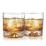 GYUX Copas de whisky - 10 onzas (juego de 2), Old Fashioned Rocks Golden Mountain soplado a mano, cristal sin plomo para hombres, ideal para whisky, bourbon, coñac, cóctel, regalos