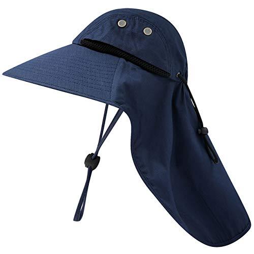 Chapeau de pêche Unisexe Chapeau de Soleil à Large Bord avec Rabat de Cou Chapeau de randonnée Chapeau de Chasse à Cordon réglable pour Le Camping de Voyage, Bleu