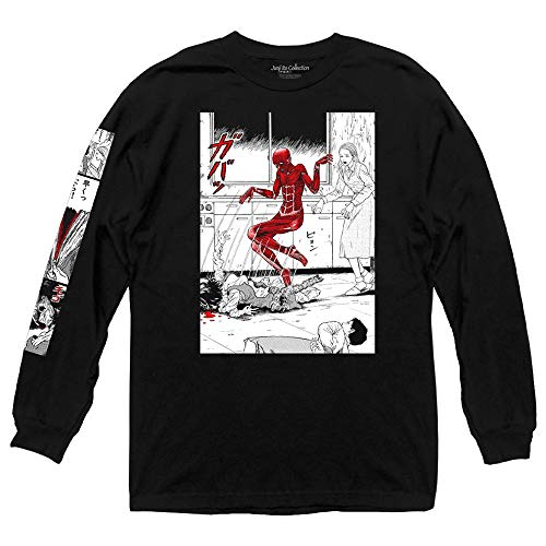 Ripple Junction Junji Ito Adult Unisex Popping Out of Skin with Sleeve Print Heavy Weight 100% Cotton Long Sleeve Crew T-Shirt Large Black