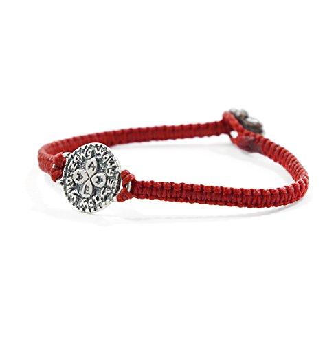Mizze Made For Luck Jewelry Cábala rojo Pulsera de plata con sello de