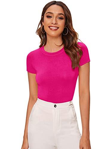 SheIn Women's Solid Basic Tee Round Neck Short Sleeve Slim Fit T-Shirt Tops Medium Pink