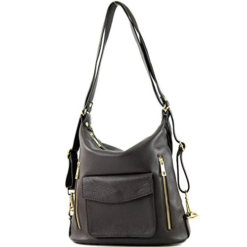 modamoda de - T174 - ital Damen Rucksack Tasche 2in1 aus Leder, Farbe:Dark Chocolate