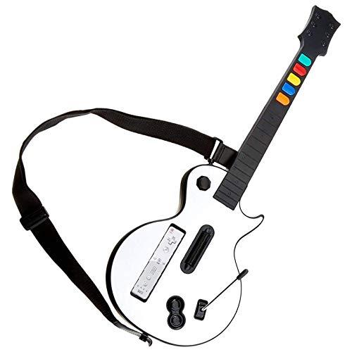 Controlador de guitarra Wii Guitar Wireless Hero y Rock Band con correa para juegos Hero y Rock Band (blanco)