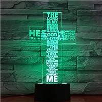 ライトジェントルファッションエレメントホームデコレーションイエスクロスリモコン3DテーブルランプナイトライトLEDアクリルボードデコレーション