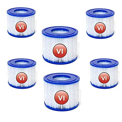 LIANHUAA Para Bestway VI Filtros VI, filtro VI, cartucho de filtro de repuesto, tamaño 6-58323, filtro hinchable de repuesto para piscina, para Lay-Z-Spa para Miami, Vegas (6 unidades)