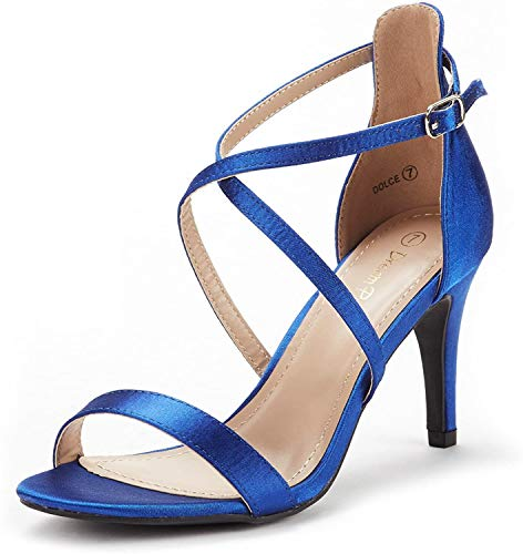 DREAM PAIRS Women's Dolce Royal Blue Satin Fashion Stilettos Open Toe Pump Heel Sandals Size 9 B(M) US