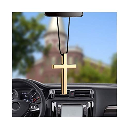 chenyou Decoration of Car Rearview Mirror Car Pendant Interior Metal Cross Jesus Christian Religious Rearview Mirror Ornament Hanging Dangle Charm Car Styling Automobiles (Color Name : Gold)