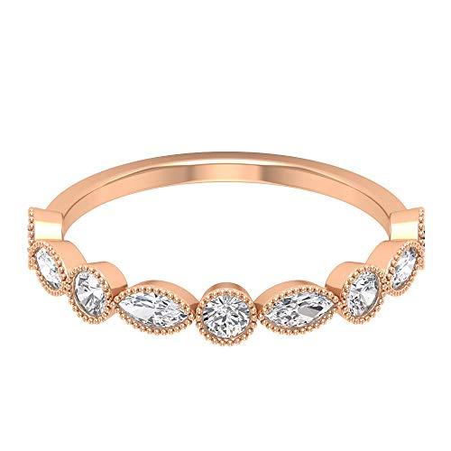 Rosec Jewels - 14 Kt Rotgold Runder Brilliantschliff Markise Leicht Getöntes Weiß/Top Crystal (I) Diamant