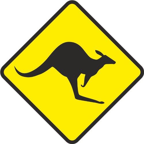 Schild Känguru Kangaroo 25 x 25cm, wetterfest, 3 mm Alu-Verbund (Kantenlänge 18,5 cm)