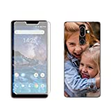 Mookase Funda Carcasa Gel + Cristal Personalizada para Nokia 7 Plus con tu Foto, Dibujo o Text