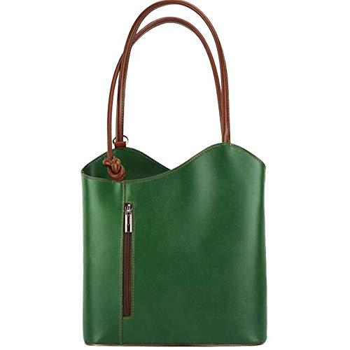 FLORENCE LEATHER MARKET Made in Italy - Borsa donna verde e marrone a spalla in pelle 28x9x29 cm - CLOE - Prodotto artigianale fiorentino