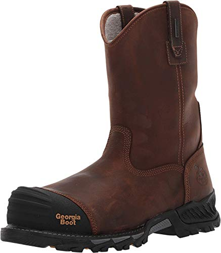 Georgia Boot Rumbler Composite Toe Waterproof Pull-on Work Boot Size 11.5(M) Black and Brown