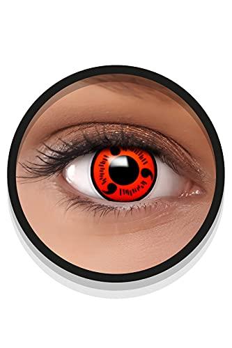 FXEYEZ Farbige Sharingan Kontaktlinsen NARUTO in rot, weich, 2 Stück (1 Paar), Ohne Sehstärke