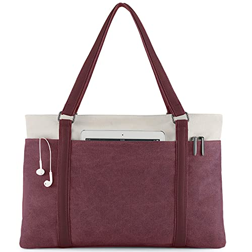 Scioltoo Tote Bag for Women Work with Zipper Canvas Shoulder Purses and Handbag Laptop Bag 15.6 Inch for Teacher and Nursing Professional Work Bag Red wine (B-Red wine)