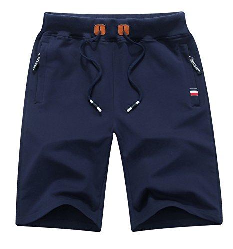 MO GOOD Mens Casual Shorts Workout Fashion Comfy Shorts Summer Breathable Loose Shorts (Navy, US (38-39))