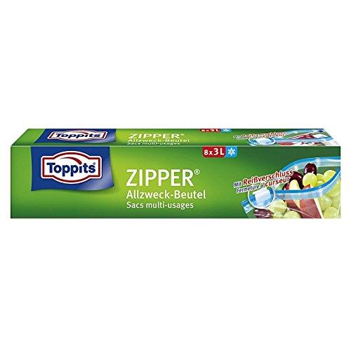 Toppits Zipper Allzweckbeutel, 8 Stück, 3l
