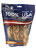 Pet Factory 78128 Beefhide | Dog Chews, 99% Digestive, Rawhides to Keep Dogs Busy While Enjoying, 100% Natural, Peanut Butter Flavored Braids, Pack of 6 in 7-8' Size, Made in USA