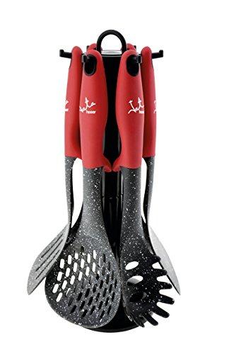 Jata Hogar Set Utensilios de Cocina, Nailon, Negro, 13.8x13.8x37.799999999999997 cm