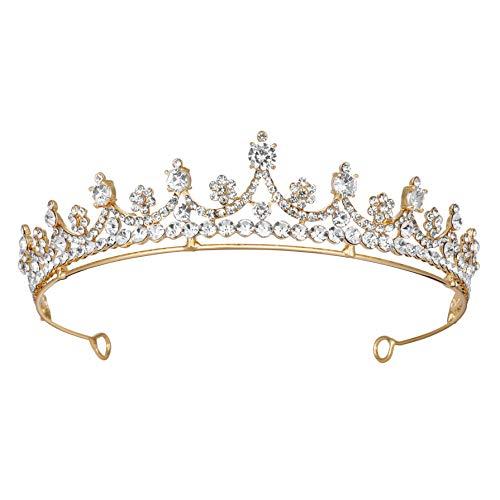Coucoland Tiara de boda para novia, corona de princesa, corona de cristal,...