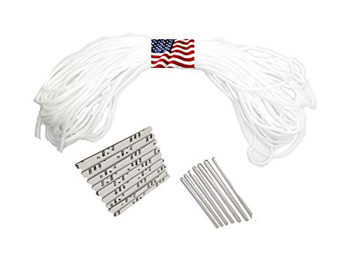 Elastic Cord 50 Yard + 50 Pcs Nose Bridge Strip DIY Craft Project String Trim for Sewing, Crafting, Hanging, Elastic String Earloop for face Masks, Elastic Bands Cord for mask