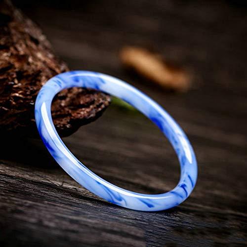 Natuurlijke Blauwe En Witte Armband Goud Silk Jade Ronde Bar Jade Bracelet Armband Dames Retro Armband Geschikt Voor Collection,inner diameter 60 to 62mm