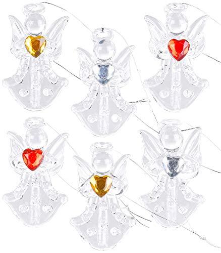 Britesta Weihnachtsbaumschmuck: 6er-Set Glas-Anhänger Engel mit Herz, handgefertigt, je 46 x 28 mm (Weihnachtsbaumanhaenger)