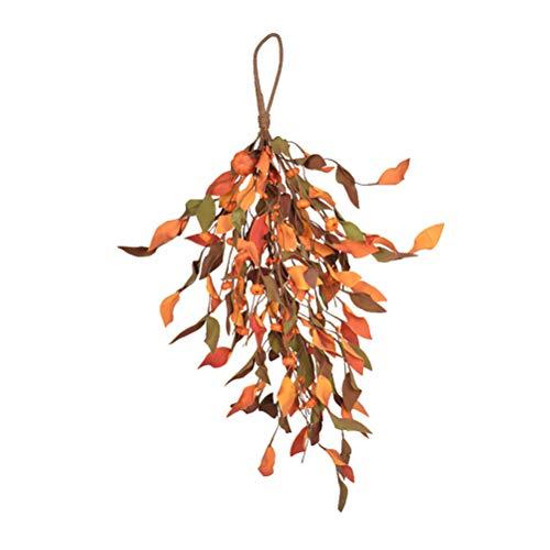 Keemov Corona artificial de calabaza para Halloween, decoración de otoño y puerta delantera, suministros de fiesta