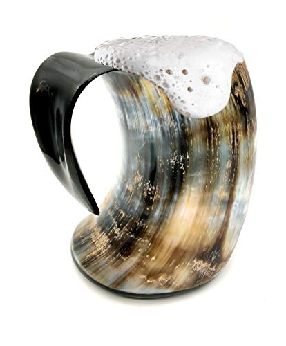 5MOONSUN5's Viking Drinking Horn Cup Ox Cup Goblet Tankard Handcrafted - Drink Mead & Beer Like Game of Thrones Heroes with This Large Ale Stein A Perfect Present for Real Men (20oz)