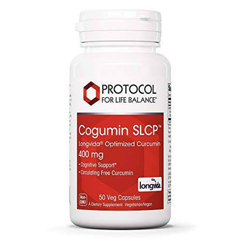 Protocol For Life Balance - Cogumin SLCP Longvida Optimized Curcumin 400 mg - Cognitive Support, Brain Health, Optimum Pain Relief, Joint and Heart Health Support, Anti-Inflammatory - 50 Veg Capsules