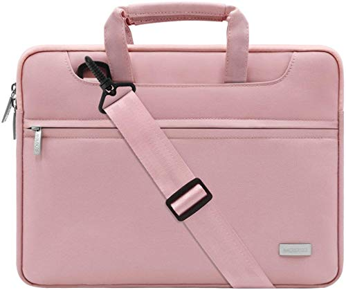 MOSISO Laptop Spalla Borsa Compatibile con 13-13,3 Pollici MacBook PRO,MacBook Air,Notebook,Poliestere Valigetta Borsa con Cintura Trolley,Rosa