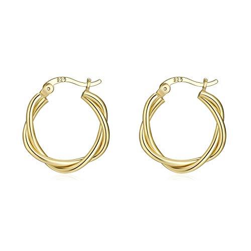 Gold Hoop Earrings for Women,14K Gold Plated Small Hoop Earrings ,Thick Twist Gold Hoops Earrings Hypoallergenic Gold Earrings 15mm