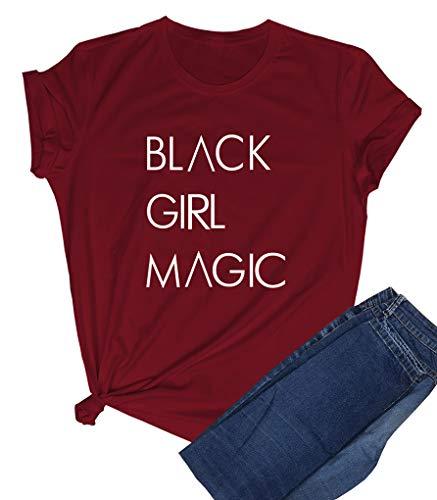 BLACKOO Women Printed Graphic Tshirts Cute Girl Tees Wine Red X-Large