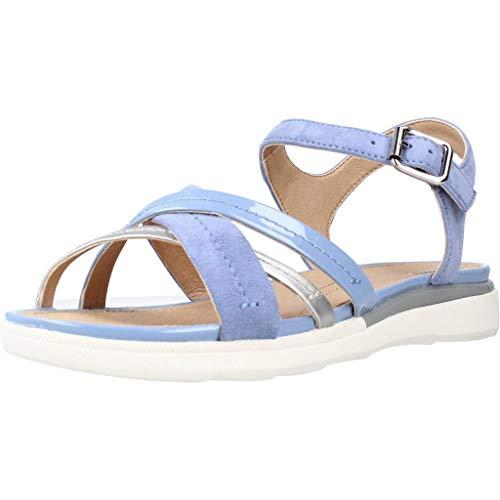 Geox D Sandal Hiver A, Sandalias con Punta Abierta para Mujer, Azul (LT Blue/Silver C0009), 37 EU