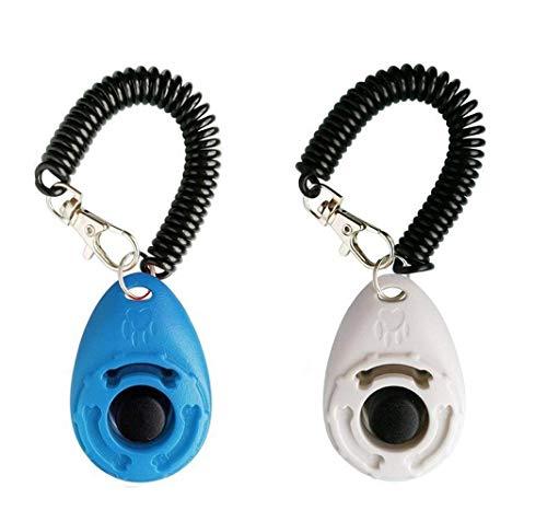 OYEFLY Hunde Clicker, Klicker mit Großem Knopf,2 Stück Hunde Klicker Set für Hundetraining Hundeerziehung Auch für Katzen Pferde (Blau und weiß)