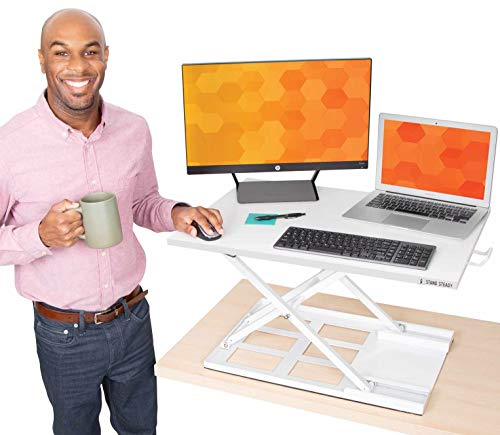 Stand Steady X-Elite Pro Standing Desk Converter | Instantly Convert Any Desk into a Stand Up Desk | Easy Lift Height Adjustable Standing Desk | No Assembly Required (28 x 20 / White)