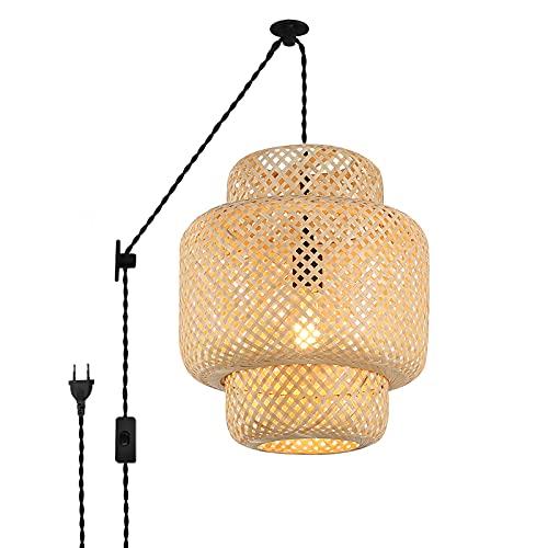 BarcelonaLED Lámpara Colgante de Mimbre con Cable Enchufe Estilo Polea Vintage Pantalla Ratán Bambú Madera Casquillo E27 para Techo/Pared Comedor Salón