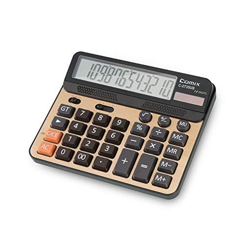 Calculadora de escritorio, calculadora de escritorio estándar con teclas de ordenador grande y calculadora de sobremesa con pantalla solar de 12 dígitos con pantalla de cristal líquido