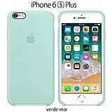 Funda Silicona para iPhone 6 Plus y 6s Plus Silicone Case, Logo Manzana, Textura Suave, Forro Microfibra (Verde mar)