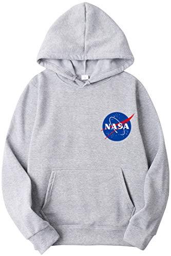 OLIPHEE Sudaderas con Capucha Color Sólido con Logo de NASA para Fanáticos de Aeroespacial para Hombre c/QH-M