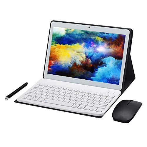 JANWIL Tablet Android 9.0 Touch 10 Zoll Quad-Core RAM 4 GB ROM 64 GB Kamera 5 MP + 8 MP WLAN GPS Type-C 8000 mAh Akku Dual-SIM-Karte Lamada 3G(Weiß)